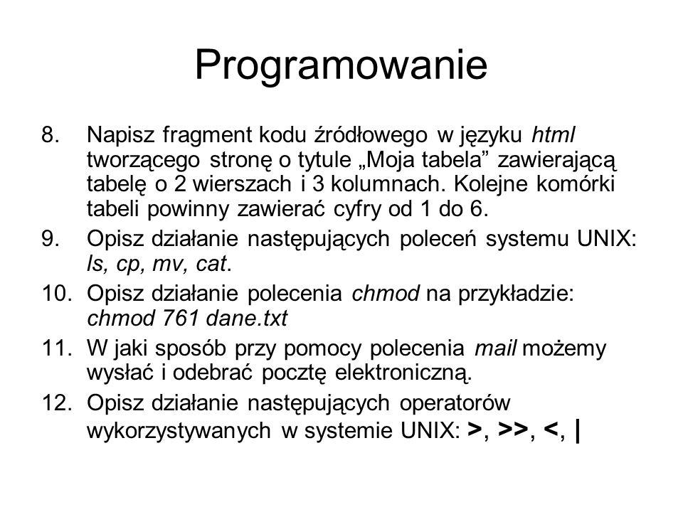 Programowanie 8.Napisz fragment kodu źródłowego w języku html tworzącego stronę o tytule Moja tabela zawierającą tabelę o 2 wierszach i 3 kolumnach. K