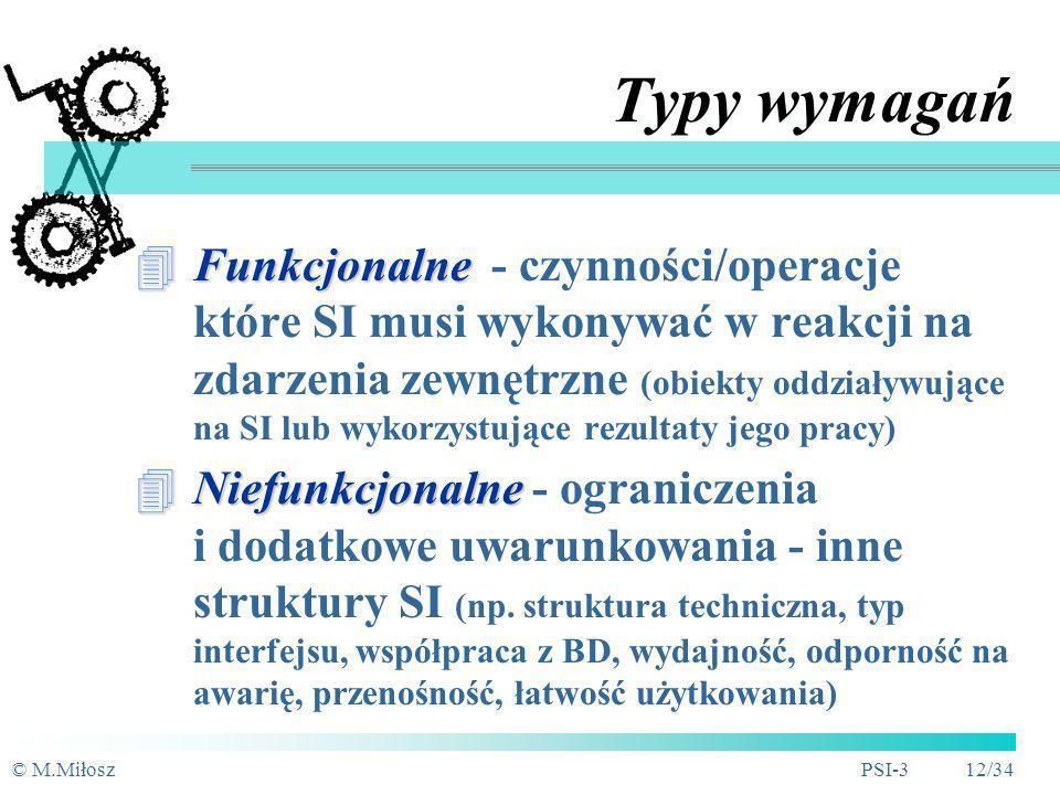 © M.MiłoszPSI-3 11/34 Metody rozpoznania wymagań Wywiady i przeglądy procesów oraz zdarzeń (MBP - jeśli było przeprowadzone) Analiza istniejącego opro