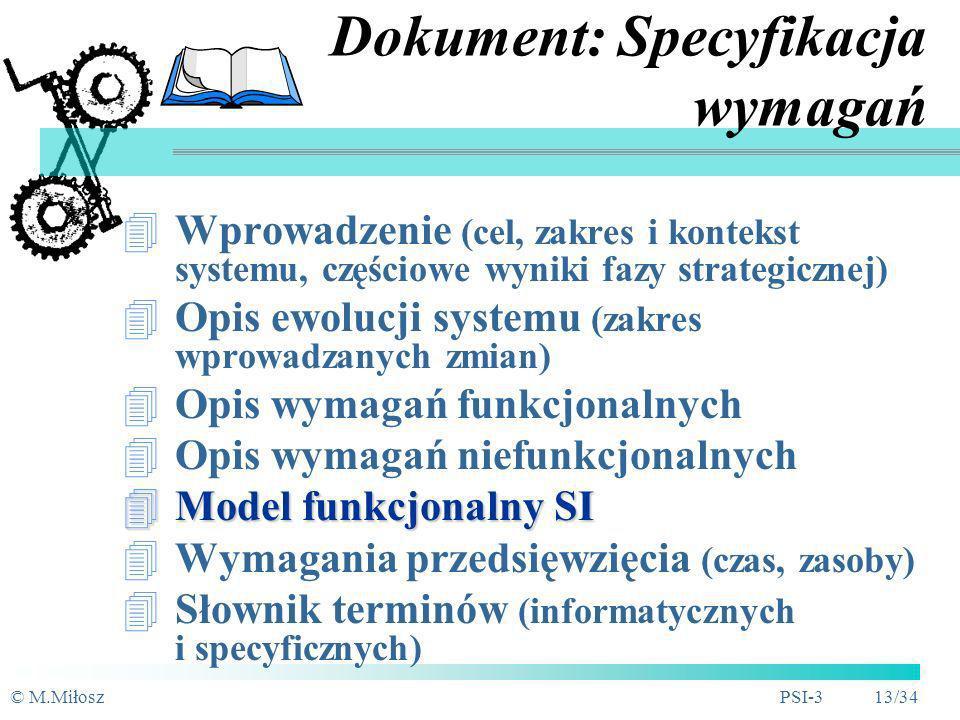 © M.MiłoszPSI-3 12/34 Typy wymagań Funkcjonalne Funkcjonalne - czynności/operacje które SI musi wykonywać w reakcji na zdarzenia zewnętrzne (obiekty o