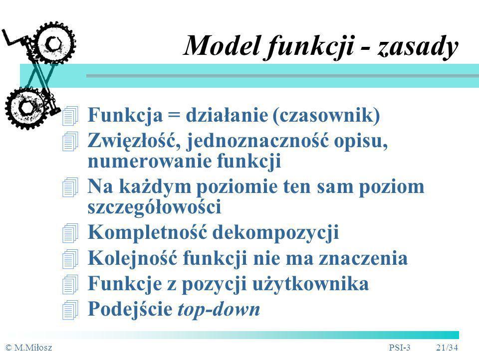 © M.MiłoszPSI-3 20/34 Hierarchiczny model funkcji - techniki przedstawienia (2) Układhybrydowy(zalecany) Układpoziomy Wyróżnienia graficzne: - kluczow