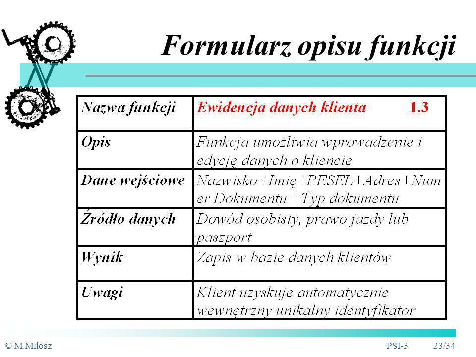 © M.MiłoszPSI-3 22/34 Dekompozycja Top-down funkcja f1 funkcja f1.4.3 funkcja f1.4.2 funkcja f1.4.1 funkcja f1.4 funkcja f1.3.2 funkcja f1.3.3 funkcja