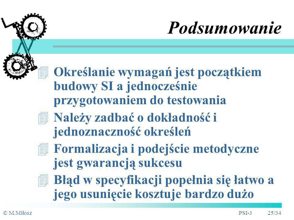 © M.MiłoszPSI-3 24/34 Wymagania niefunkcjonalne Dodatkowe uwarunkowania i ograniczenia Wynikają z wymagań użytkownika Weryfikowalność wymagań: liczebn