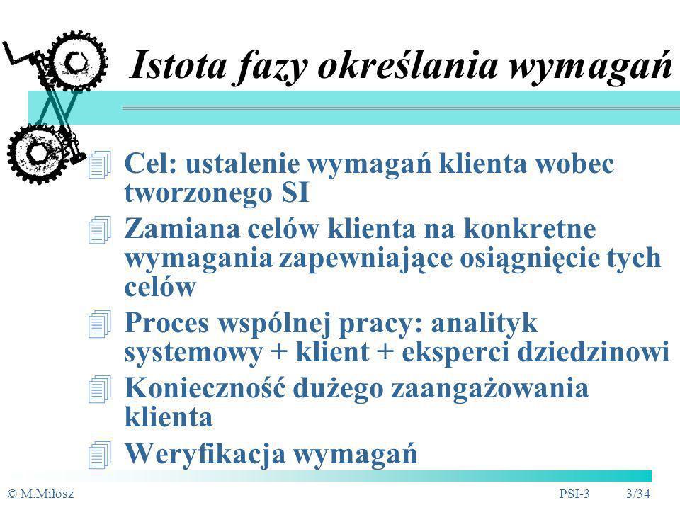 © M.MiłoszPSI-3 2/34 Plan Istota fazy określania wymagań Problemy inżynierii wymagań Metody rozpoznania wymagań Wymagania funkcjonalne i nie- Dokument