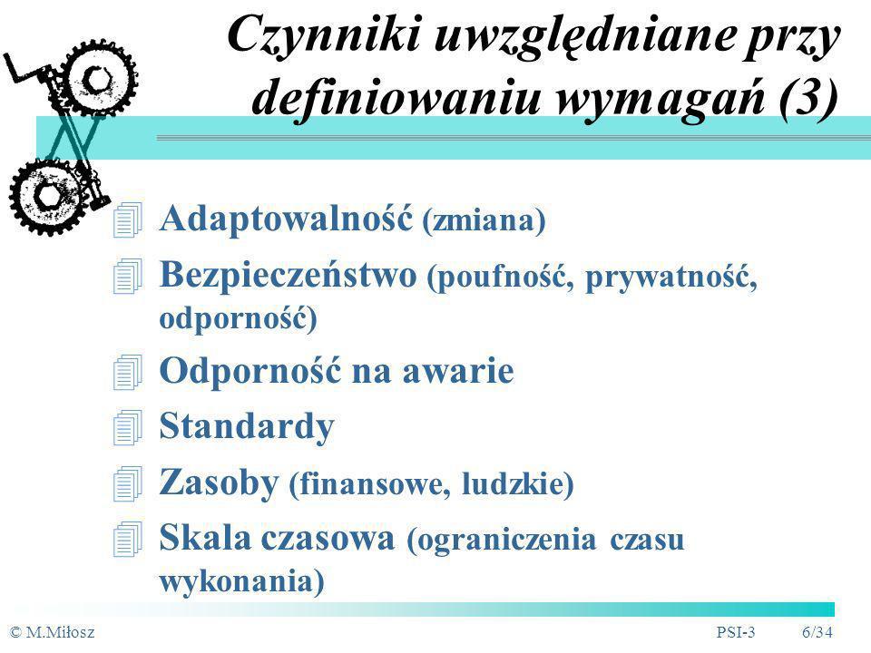 © M.MiłoszPSI-3 5/34 Czynniki uwzględniane przy definiowaniu wymagań (2) Interfejsy komunikacyjne (sieć, protokoły) Interfejsy sprzętowe (sprzęt, wyma