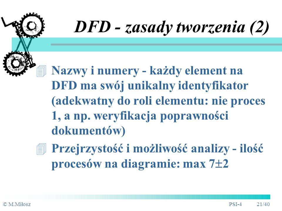 © M.MiłoszPSI-4 20/40 DFD - zasady tworzenia (1) Na DFD nie definiuje się sposobu w jaki obiekt zewnętrzny dostarcza lub pobiera dane Magazyn jest ele