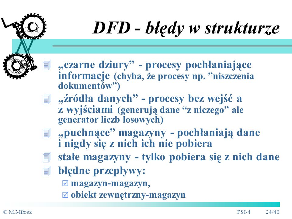 © M.MiłoszPSI-4 23/40 1 1.11.2 1.11.2 1.11.2 D1 Dane klienta DFD - techniki dekompozycji
