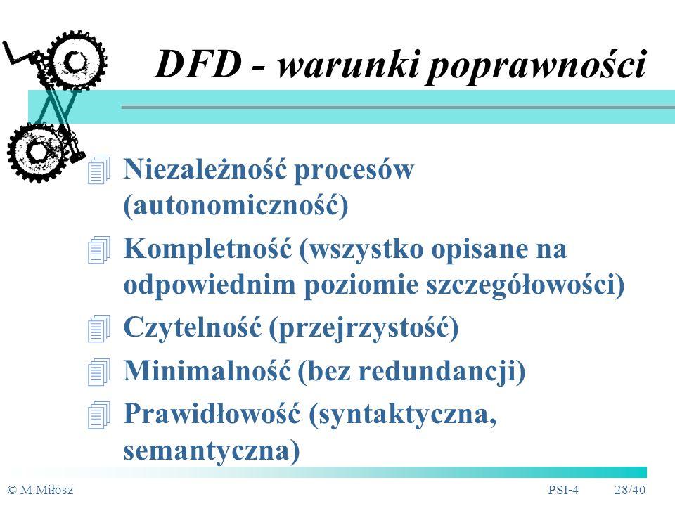 © M.MiłoszPSI-4 27/40 DFD - specyfikacja procesu elementarnego Algorytmiczna definicja procesu Dowolność formułowania, ale zwykle: numer i nazwa proce