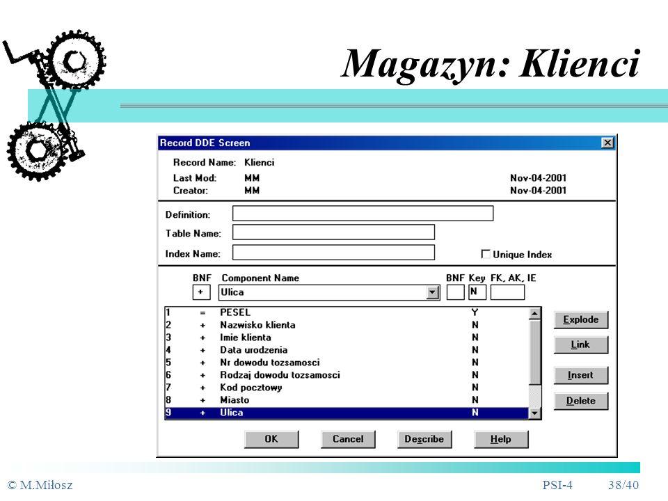 © M.MiłoszPSI-4 37/40 Specyfikacja procesu prostego: 1.4. Emisja zlecenia na naprawę
