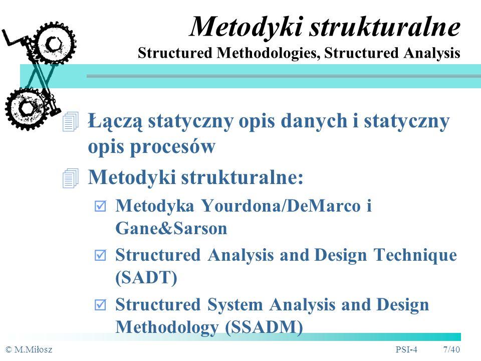 © M.MiłoszPSI-4 6/40 Modelowanie systemu Rezultat: konceptualny - pojęciowy model systemu (Jak ma system działać?) Techniki modelowania SI: struktural