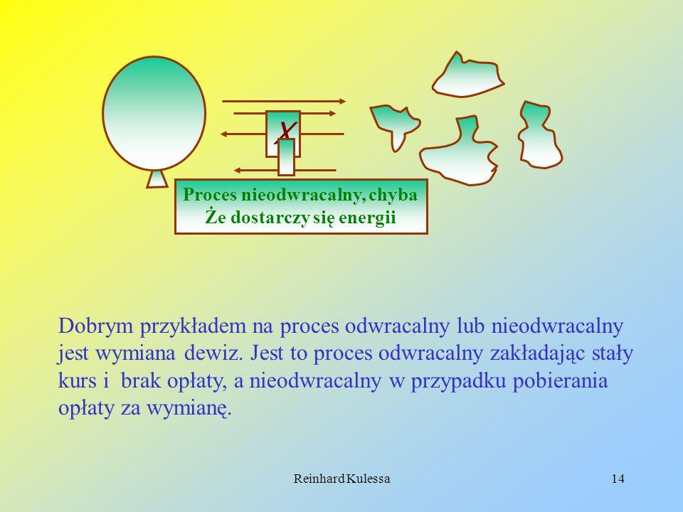 Reinhard Kulessa14 Proces nieodwracalny, chyba Że dostarczy się energii X Dobrym przykładem na proces odwracalny lub nieodwracalny jest wymiana dewiz.