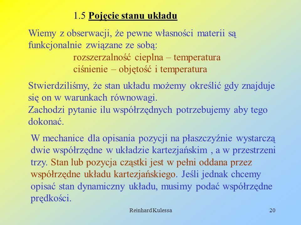 Reinhard Kulessa20 1.5 Pojęcie stanu układu Wiemy z obserwacji, że pewne własności materii są funkcjonalnie związane ze sobą: rozszerzalność cieplna –