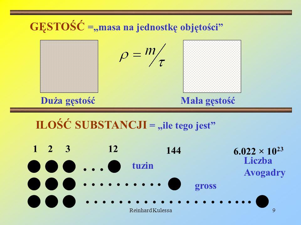 Reinhard Kulessa9 GĘSTOŚĆ =masa na jednostkę objętości Duża gęstośćMała gęstość … ………. ………………... 1 2 3 12 144 6.022 × 10 23 tuzin gross ILOŚĆ SUBSTANC