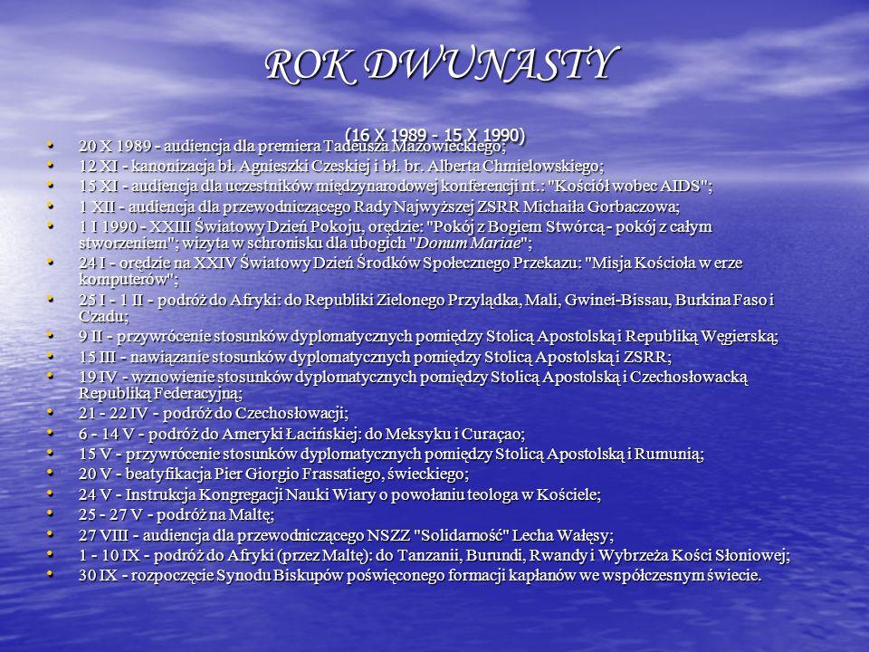 ROK DWUNASTY (16 X 1989 - 15 X 1990) 20 X 1989 - audiencja dla premiera Tadeusza Mazowieckiego; 20 X 1989 - audiencja dla premiera Tadeusza Mazowiecki
