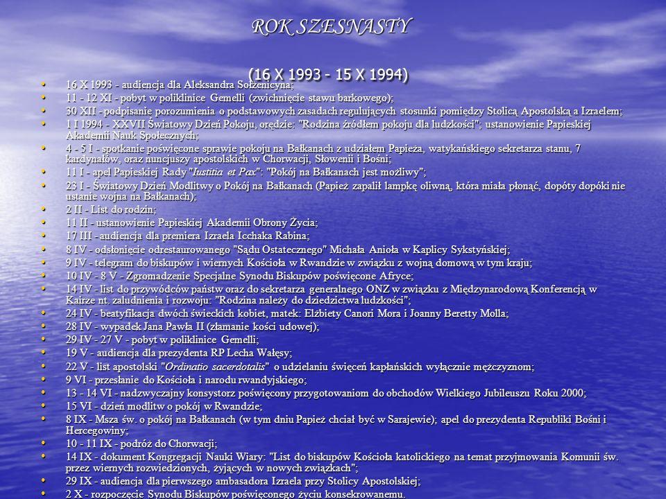 ROK SZESNASTY (16 X 1993 - 15 X 1994) 16 X 1993 - audiencja dla Aleksandra Sołżenicyna; 11 - 12 XI - pobyt w poliklinice Gemelli (zwichnięcie stawu ba