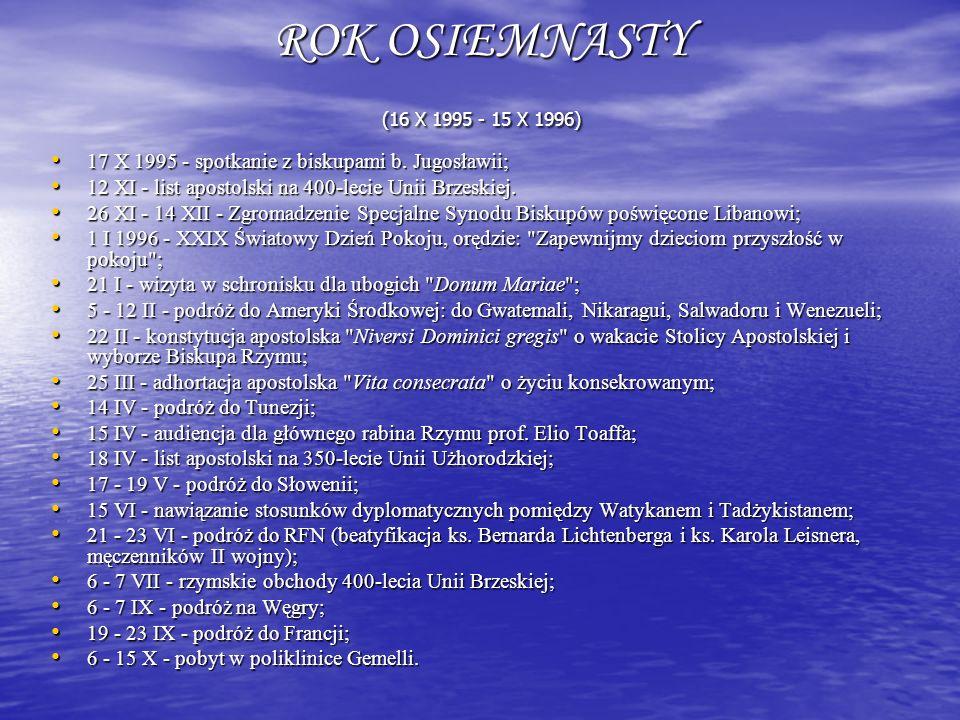 ROK OSIEMNASTY (16 X 1995 - 15 X 1996) 17 X 1995 - spotkanie z biskupami b. Jugosławii; 17 X 1995 - spotkanie z biskupami b. Jugosławii; 12 XI - list