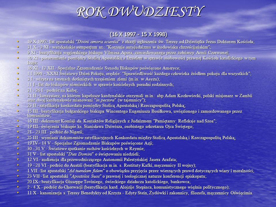 ROK DWUDZIESTY (16 X 1997 - 15 X 1998) 19 X 1997- list apostolski