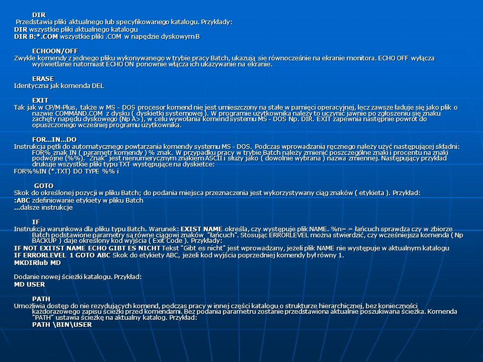 PAUSE Umożliwia wstrzymanie operacji na pliku Batch z możliwością opcjonalnego przedstawienia tekstu.