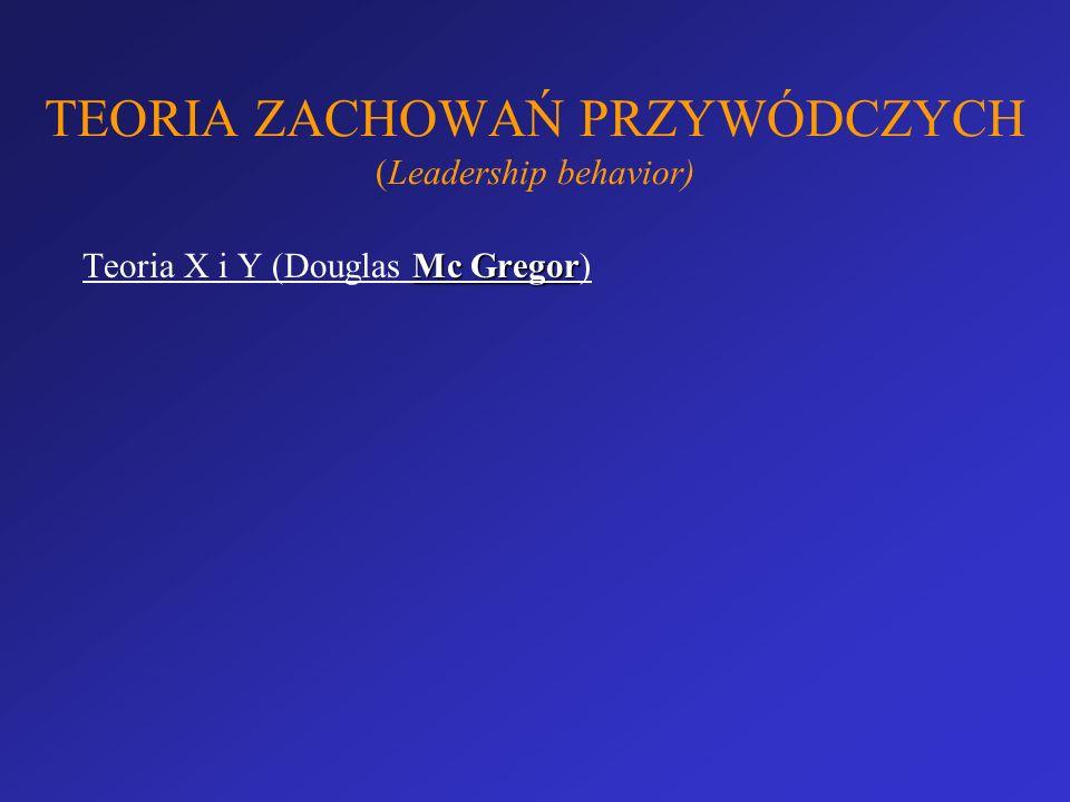 TEORIA ZACHOWAŃ PRZYWÓDCZYCH (Leadership behavior) Mc Gregor Teoria X i Y (Douglas Mc Gregor)