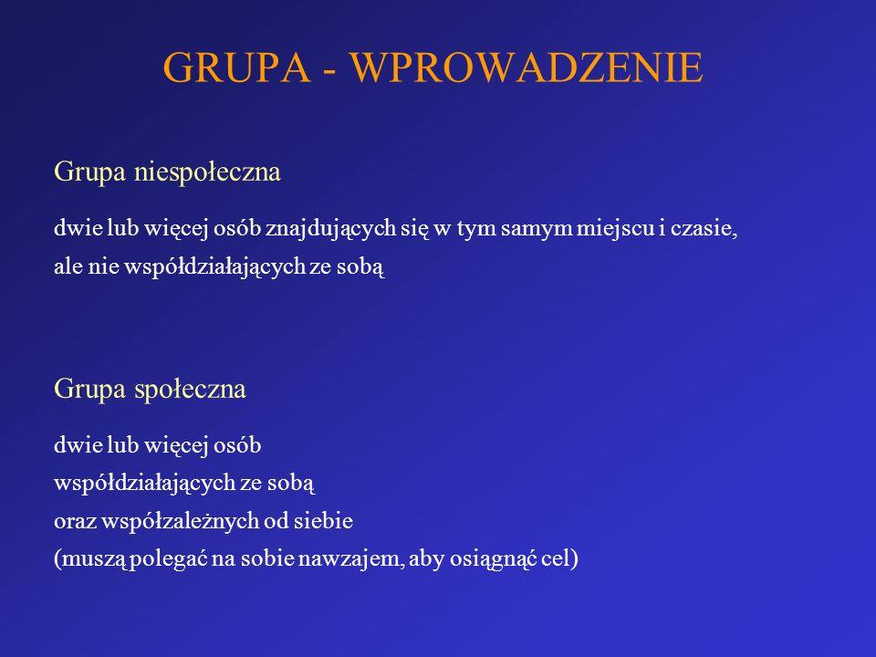 GRUPA - WPROWADZENIE Grupę społeczną charakteryzuje: - współzależność (K.