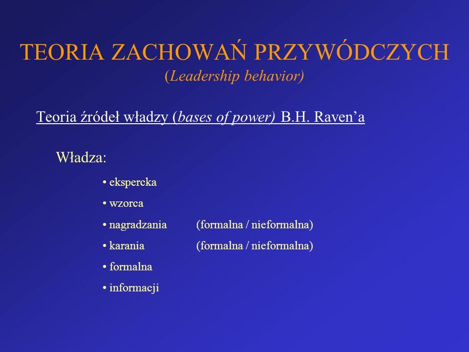 TEORIA ZACHOWAŃ PRZYWÓDCZYCH (Leadership behavior) Teoria źródeł władzy (bases of power) B.H. Ravena Władza: ekspercka wzorca nagradzania (formalna /