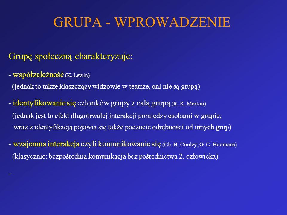 GRUPA - WPROWADZENIE Grupę społeczną charakteryzuje: - współzależność (K. Lewin) (jednak to także klaszczący widzowie w teatrze, oni nie są grupą) - i