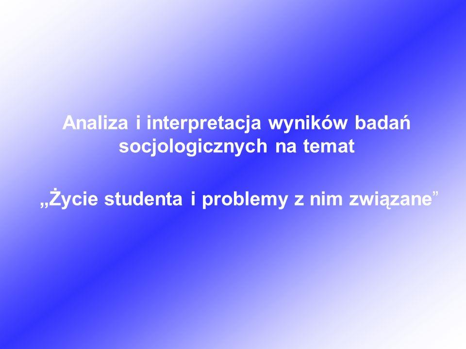 Analiza i interpretacja wyników badań socjologicznych na temat Życie studenta i problemy z nim związane