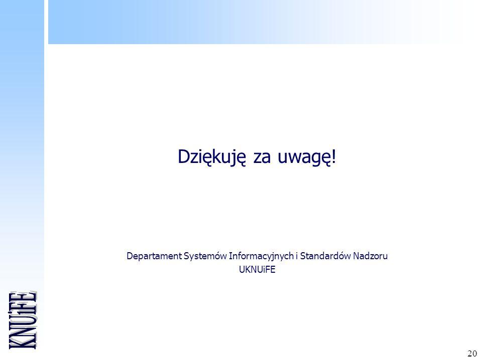 20 Dziękuję za uwagę! Departament Systemów Informacyjnych i Standardów Nadzoru UKNUiFE