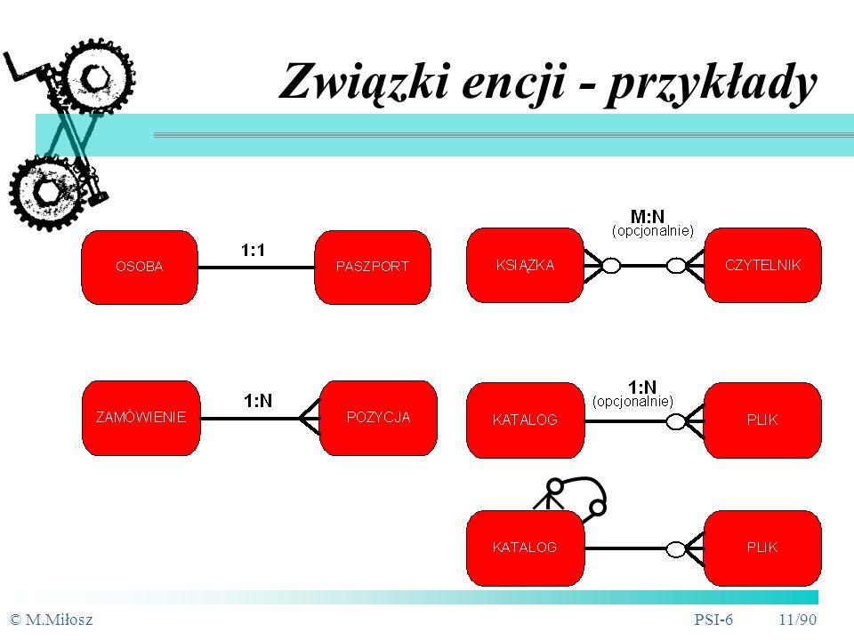 © M.MiłoszPSI-6 10/90 Związki rekurencyjne (unarne) ma kierownika makierownika Pracownik PracownikmakierownikaPracownik