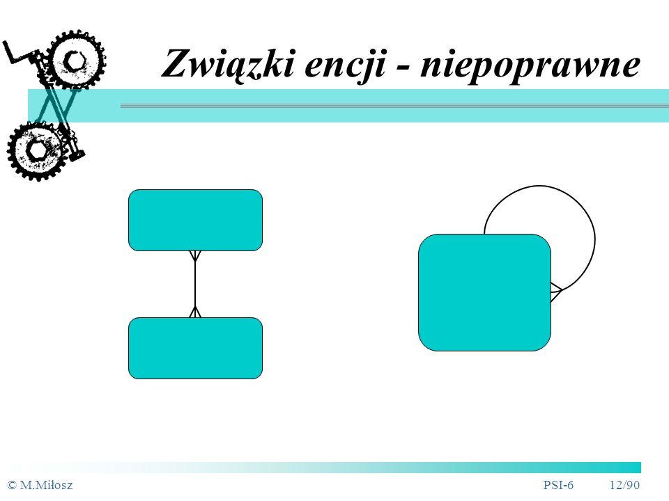 © M.MiłoszPSI-6 11/90 Związki encji - przykłady