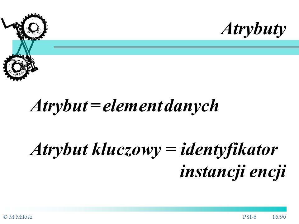 © M.MiłoszPSI-6 15/90 Atrybut encji dowolny szczegół służący do kwalifikowania, identyfikowania, klasyfikowania, określania ilości lub wyrażania stanu encji dowolny opis mający znaczenie dla encji funkcja przypisująca obiektowi wartość cechy ze zbioru wartości tej cechy (dziedziny) Właściwości atrybutów: atomiczność, jednoznaczność, zależność tylko od instancji encji (klucza głównego), domena, format, inne warunki