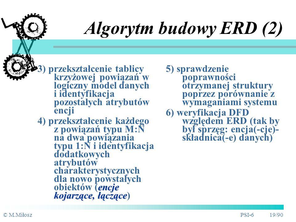 © M.MiłoszPSI-6 18/90 Algorytm budowy ERD (1) 1) identyfikacja (wydzielenie) zbioru obiektów (encji) w systemie wraz z ich atrybutami kluczowymi 2) identyfikacja powiązań bezpośrednich między encjami (tablica krzyżowa) oraz ich rodzaju Lista: klient (PESEL), rower (Nr), typ roweru (Kod), wypożyczenie (Nr), cennik (Pozycja)