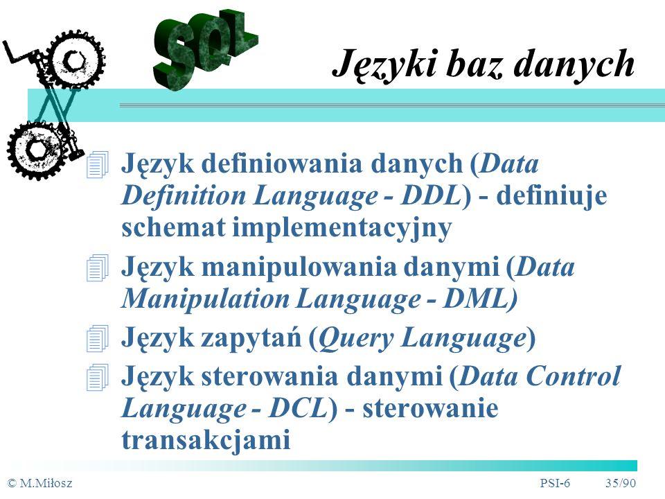 © M.MiłoszPSI-6 34/90 SZBD - specjalne cechy Transakcyjność przetwarzań Optymalizacja przetwarzań Blokowanie zasobów (rozwiązanie konfliktów dostępu) Przeciwdziałanie zakleszczeniom System kont i uprawnień dostępu Monitorowanie BD
