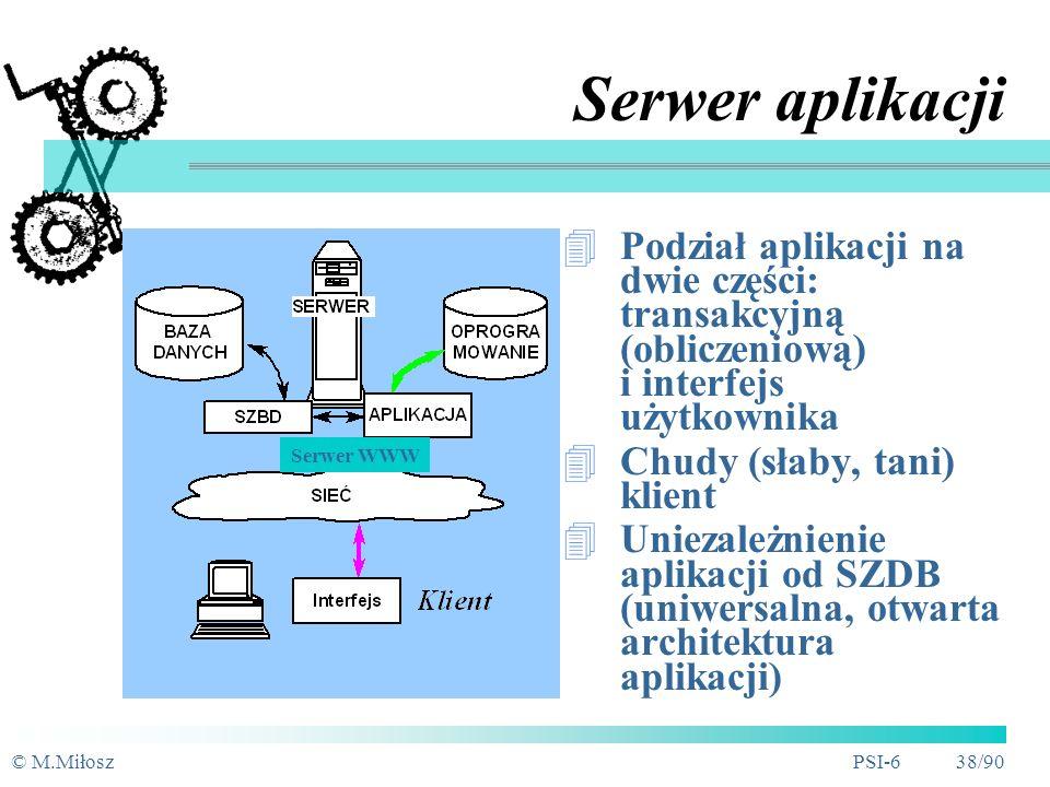 © M.MiłoszPSI-6 37/90 Architektury sieciowe BD Serwer BD