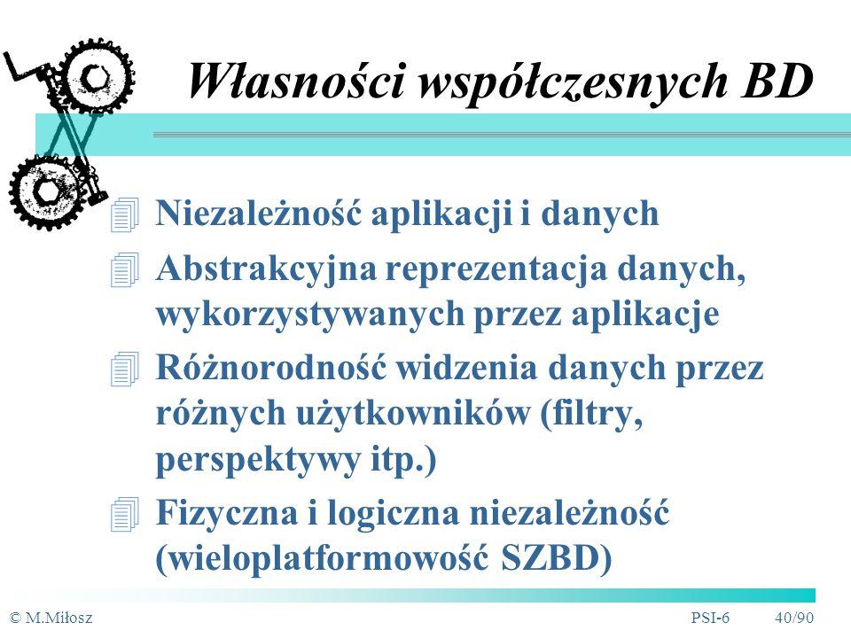© M.MiłoszPSI-6 39/90 Przetwarzanie rozproszone Przezroczystość dla klienta Szybkość Wielkość BD Niezawodność Problemy: łączność, transakcyjność, integralność