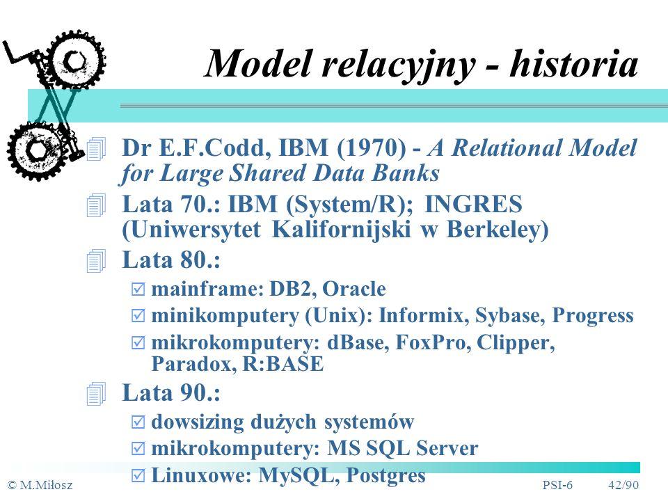 © M.MiłoszPSI-6 41/90 Model implementacyjny - typy Hierarchiczny Sieciowy Kartotekowy Relacyjny Obiektowo-relacyjny Obiektowy Hypertekst