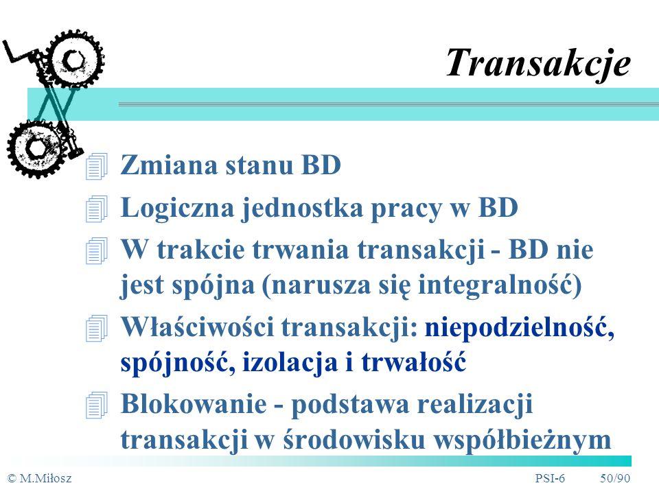 © M.MiłoszPSI-6 49/90SI Transakcje na BD Operacje Stany zapis zmiana stanu Zestawieniestanówiobrotów