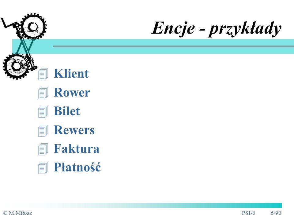 © M.MiłoszPSI-6 5/90 Encje - zasady ENCJA - rzecz lub obiekt (grupa, klasa, kategoria a nie konkretny) mający dla nas znaczenie, rzeczywisty bądź wyobrażony, o którym informacje muszą być znane lub przechowywane każda encja musi być jednoznacznie identyfikowalna (nazwa w liczbie pojedynczej) każda instancja (wystąpienie) encji musi być wyraźnie odróżnialna od wszystkich innych instancji encji tego samego typu (identyfikator, klucz główny) Klient