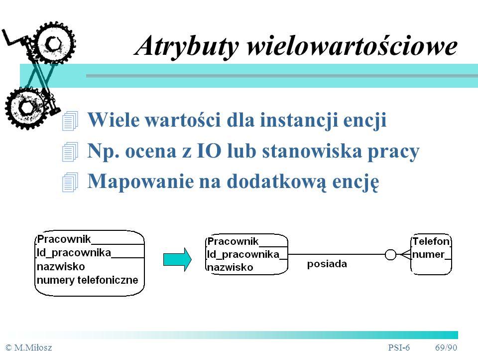 © M.MiłoszPSI-6 68/90 Atrybuty złożone Wartość atrybutu jest złożeniem kilku bardziej prostych wartości, np.