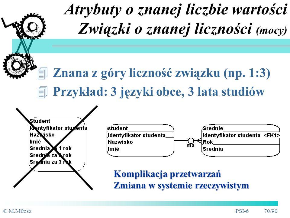 © M.MiłoszPSI-6 69/90 Atrybuty wielowartościowe Wiele wartości dla instancji encji Np.
