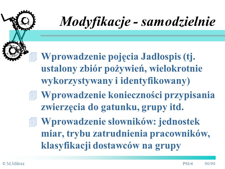 © M.MiłoszPSI-6 89/90 4./5. Model konceptualny
