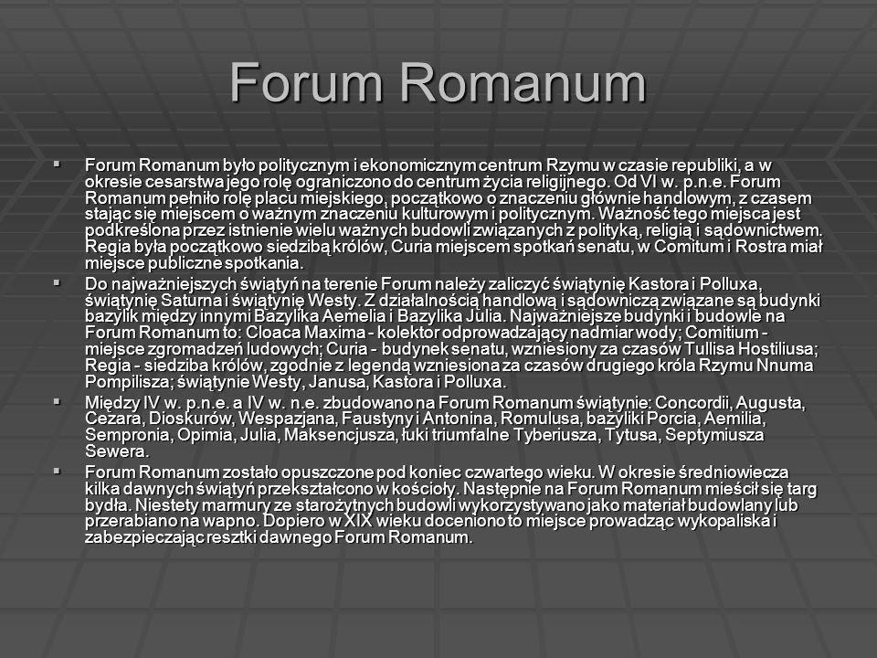Forum Romanum Forum Romanum było politycznym i ekonomicznym centrum Rzymu w czasie republiki, a w okresie cesarstwa jego rolę ograniczono do centrum ż
