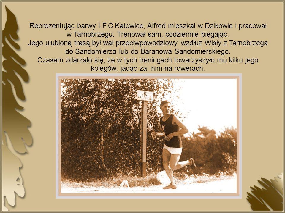 Reprezentując barwy I.F.C Katowice, Alfred mieszkał w Dzikowie i pracował w Tarnobrzegu. Trenował sam, codziennie biegając. Jego ulubioną trasą był wa