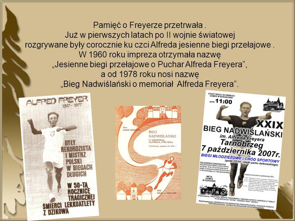 Pamięć o Freyerze przetrwała. Już w pierwszych latach po II wojnie światowej rozgrywane były corocznie ku czci Alfreda jesienne biegi przełajowe. W 19