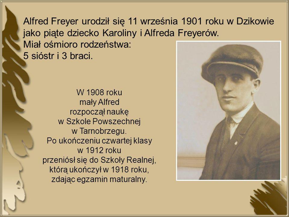 Alfred Freyer urodził się 11 września 1901 roku w Dzikowie jako piąte dziecko Karoliny i Alfreda Freyerów. Miał ośmioro rodzeństwa: 5 sióstr i 3 braci