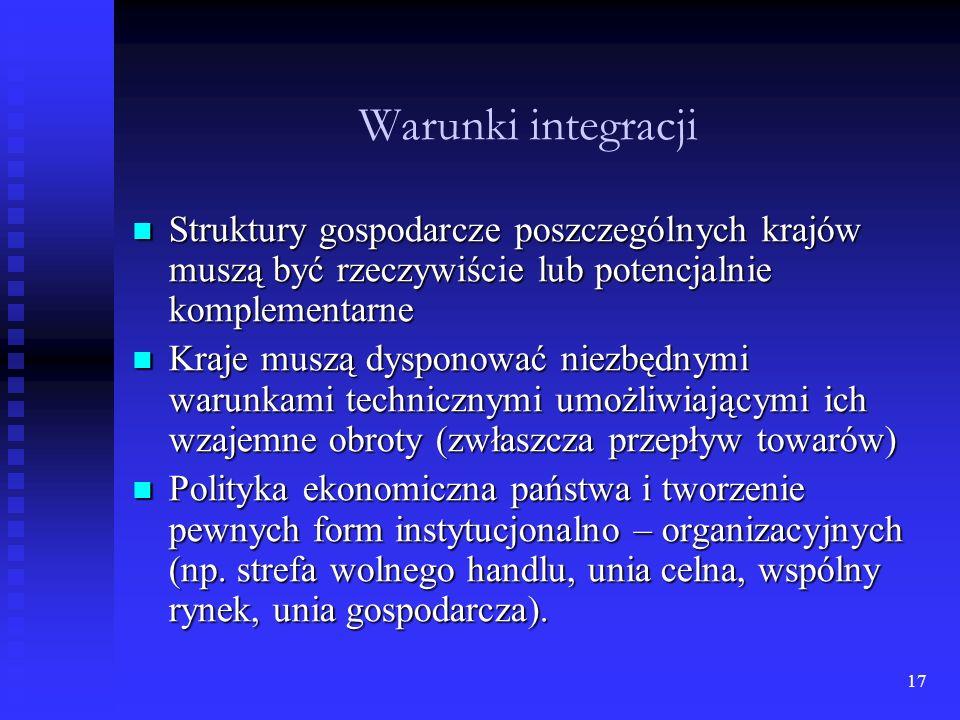 16 Istota i rodzaj międzynarodowej integracji europejskiej Integracja oznacza proces gospodarczego scalania, jej istotą jest proces wszechstronnych pr