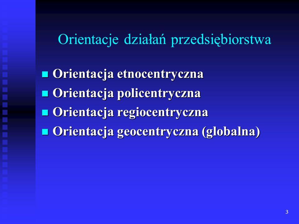 3 Orientacje działań przedsiębiorstwa Orientacja etnocentryczna Orientacja etnocentryczna Orientacja policentryczna Orientacja policentryczna Orientacja regiocentryczna Orientacja regiocentryczna Orientacja geocentryczna (globalna) Orientacja geocentryczna (globalna)