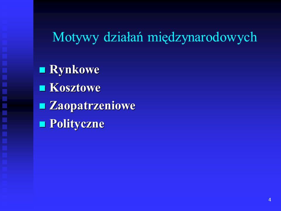 24 Wejście zagranicznych firm na polski rynek Ekspansja zagranicznych firm handlowych w Polsce może przybierać dwie formy: koncepcja działania przenoszona jest z kraju macierzystego w postaci w zasadzie nie zmienionej, a przedsiębiorstwo jest zarządzane centralnie, np.