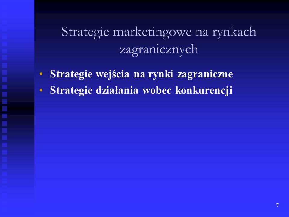 6 Rodzaj badań Strukturalne - dotyczą czynników otoczenia przedsiębiorstwa na rynkach zagranicznych nie podlegających zmianom lub zmieniających się w