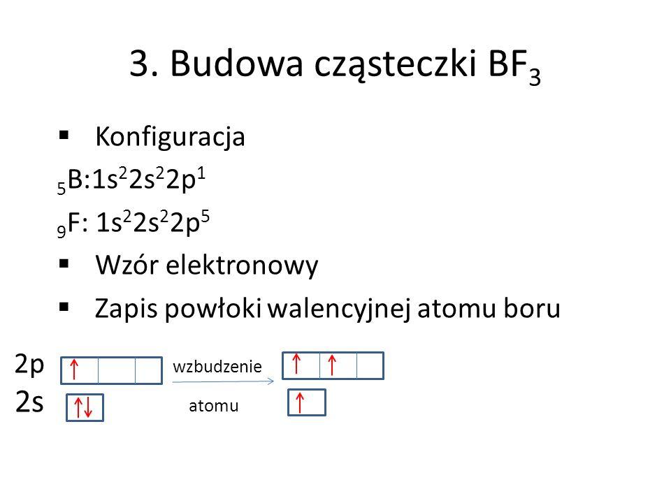 3. Budowa cząsteczki BF 3 Konfiguracja 5 B:1s 2 2s 2 2p 1 9 F: 1s 2 2s 2 2p 5 Wzór elektronowy Zapis powłoki walencyjnej atomu boru 2p wzbudzenie 2s a