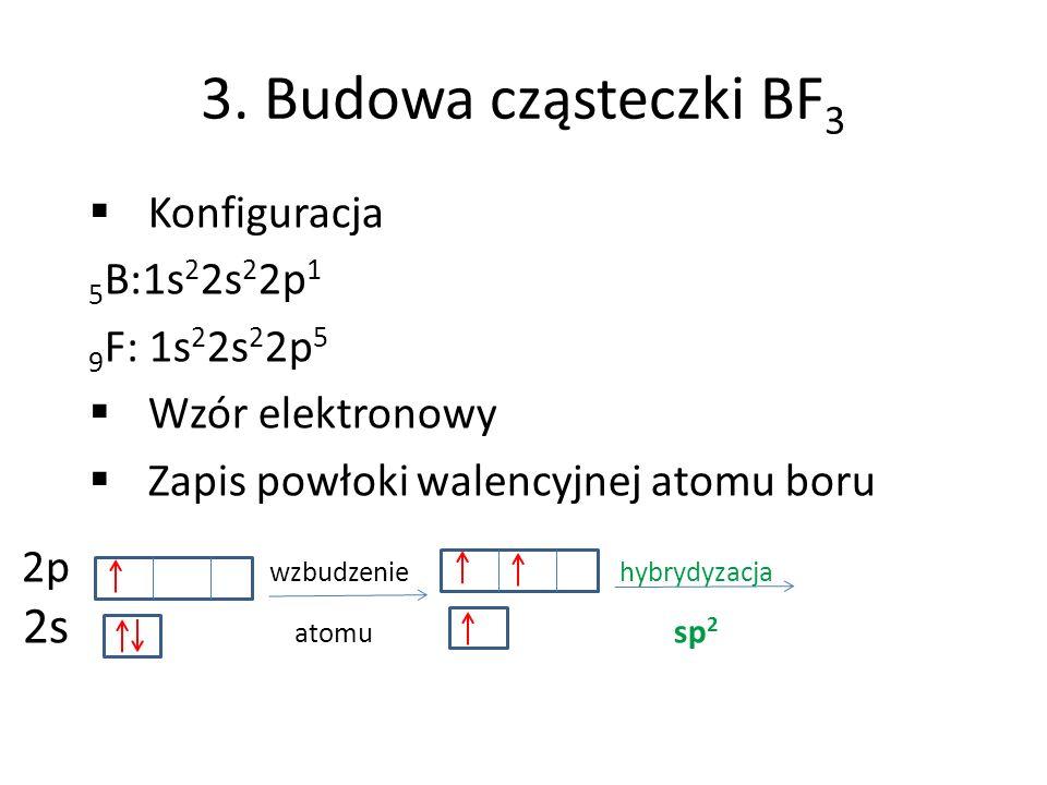 3. Budowa cząsteczki BF 3 Konfiguracja 5 B:1s 2 2s 2 2p 1 9 F: 1s 2 2s 2 2p 5 Wzór elektronowy Zapis powłoki walencyjnej atomu boru 2p wzbudzenie hybr